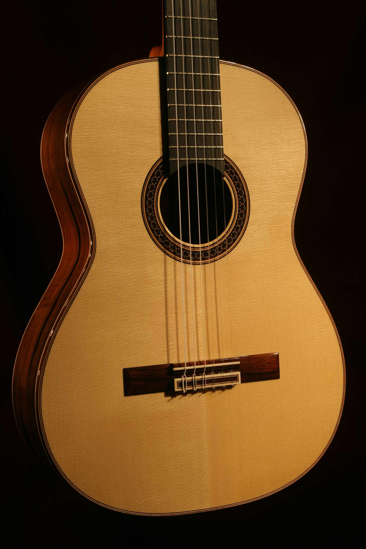 Brazilian Rosewood and Engelmann Spruce Guitar - Front - Close Up